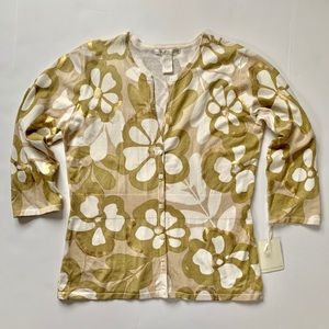 NWT Sarah Spencer Metallic Floral Cardigan